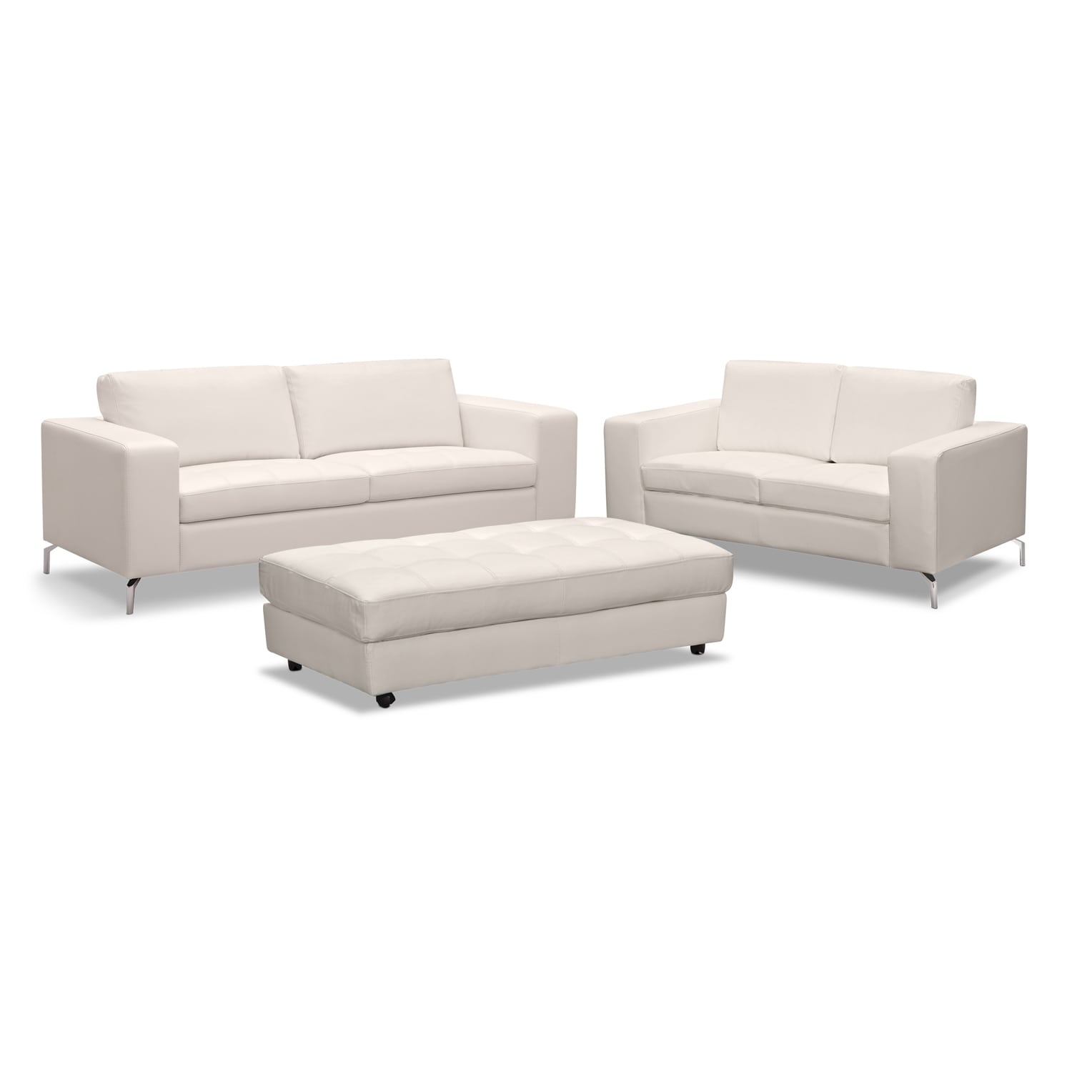 Living Room Furniture - Casino 3 Pc. Living Room w/Cocktail Ottoman