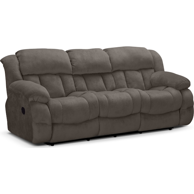Living Room Furniture - Park City Dual Reclining Sofa - Gray