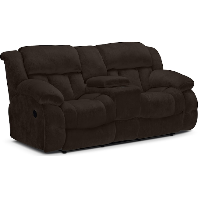 Living Room Furniture - Park City Dual Reclining Loveseat - Chocolate