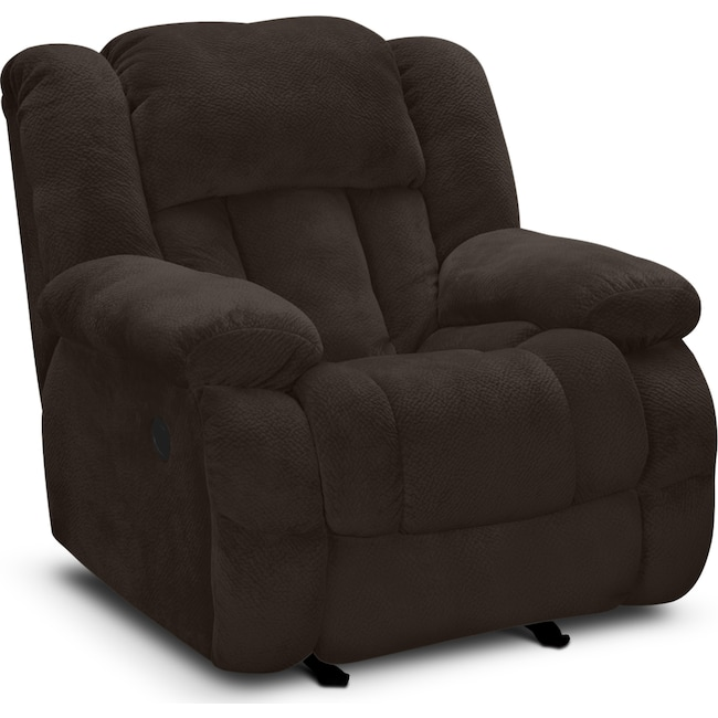 Living Room Furniture - Park City Glider Recliner - Chocolate