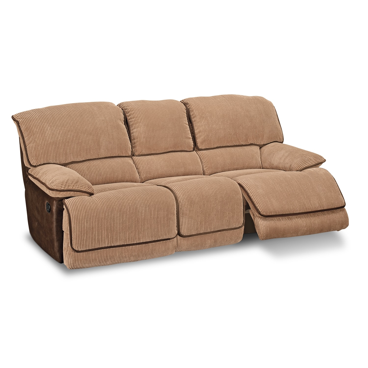Laguna dual reclining sofa camel american signature for Divan furniture