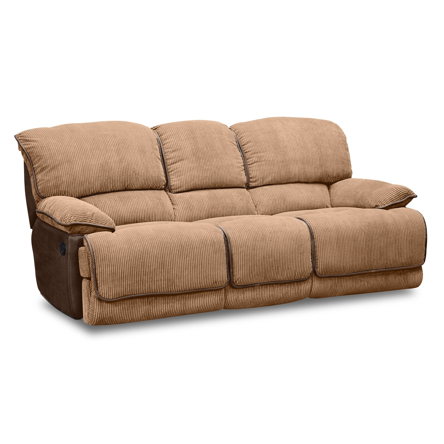 Laguna dual reclining sofa camel american signature for Signature furniture