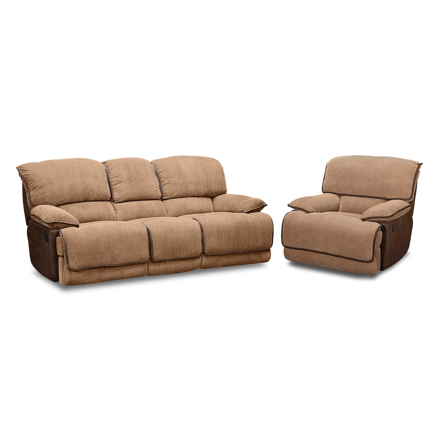 Living Room Furniture - Laguna Reclining Sofa and Glider Recliner Set - Camel
