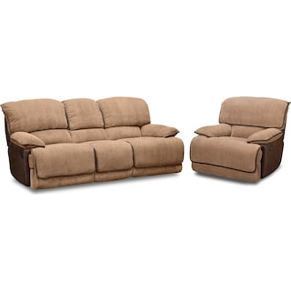Laguna Reclining Sofa and Glider Recliner Set - Camel