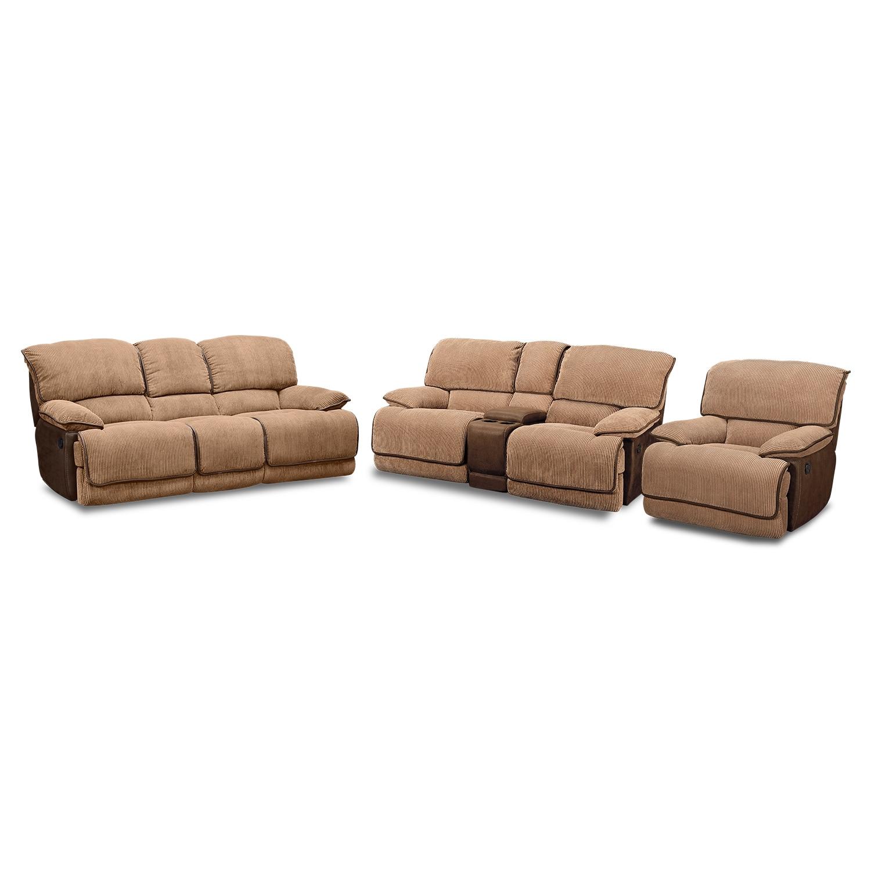laguna reclining sofa loveseat and glider recliner set camel - Reclining Glider