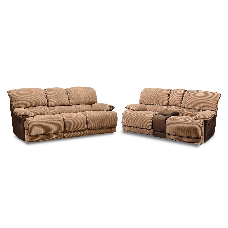 Laguna Reclining Sofa And Gliding Reclining Loveseat Set Camel American Signature Furniture