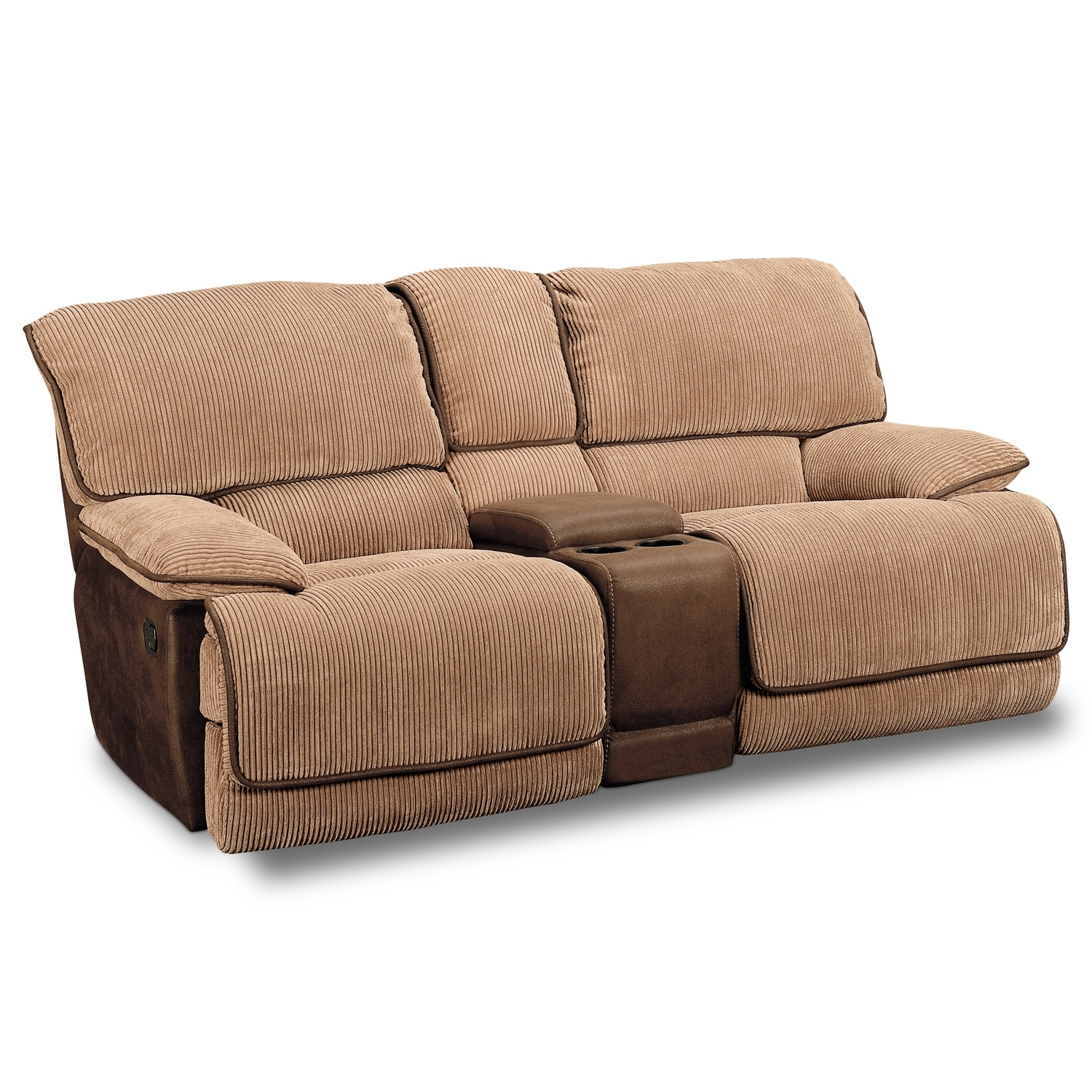 Laguna Reclining Sofa And Gliding Reclining Loveseat Set Camel American Signature Furniture
