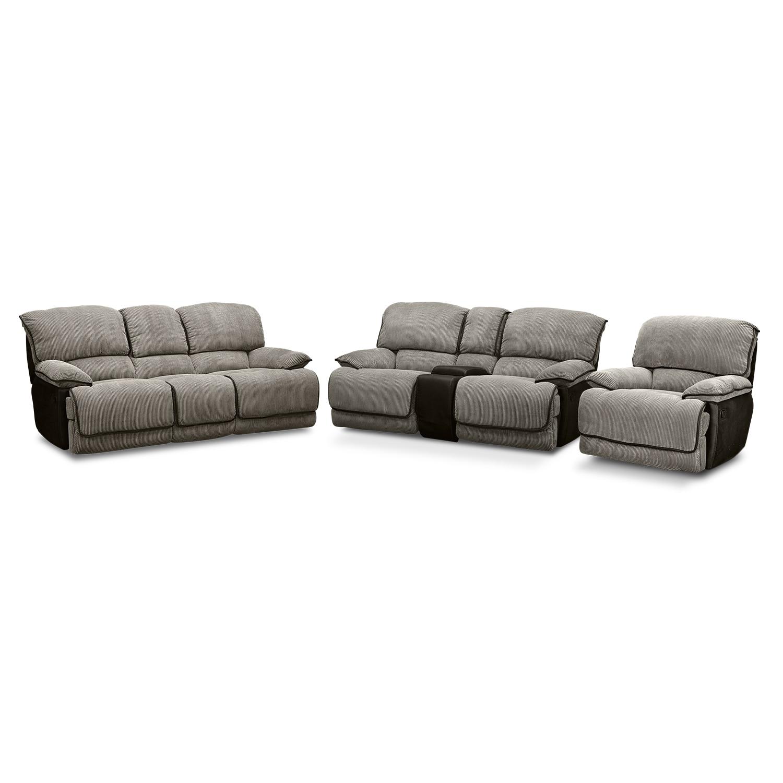 Living Room Furniture - Laguna Reclining Sofa, Gliding Reclining Loveseat and Glider Recliner Set - Steel