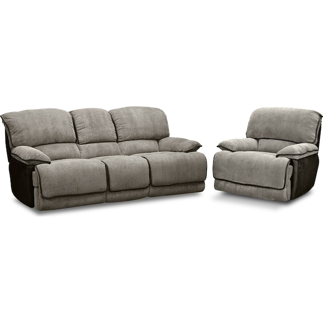 Living Room Furniture - Laguna Reclining Sofa and Glider Recliner Set - Steel