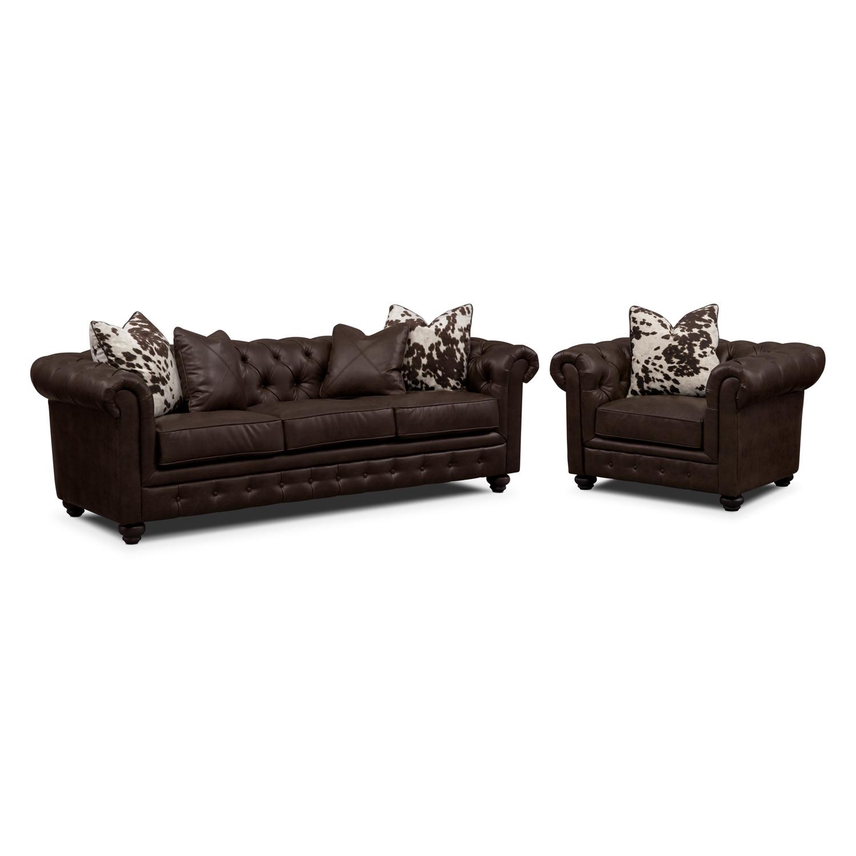 Madeline Sofa and Chair Set - Chocolate