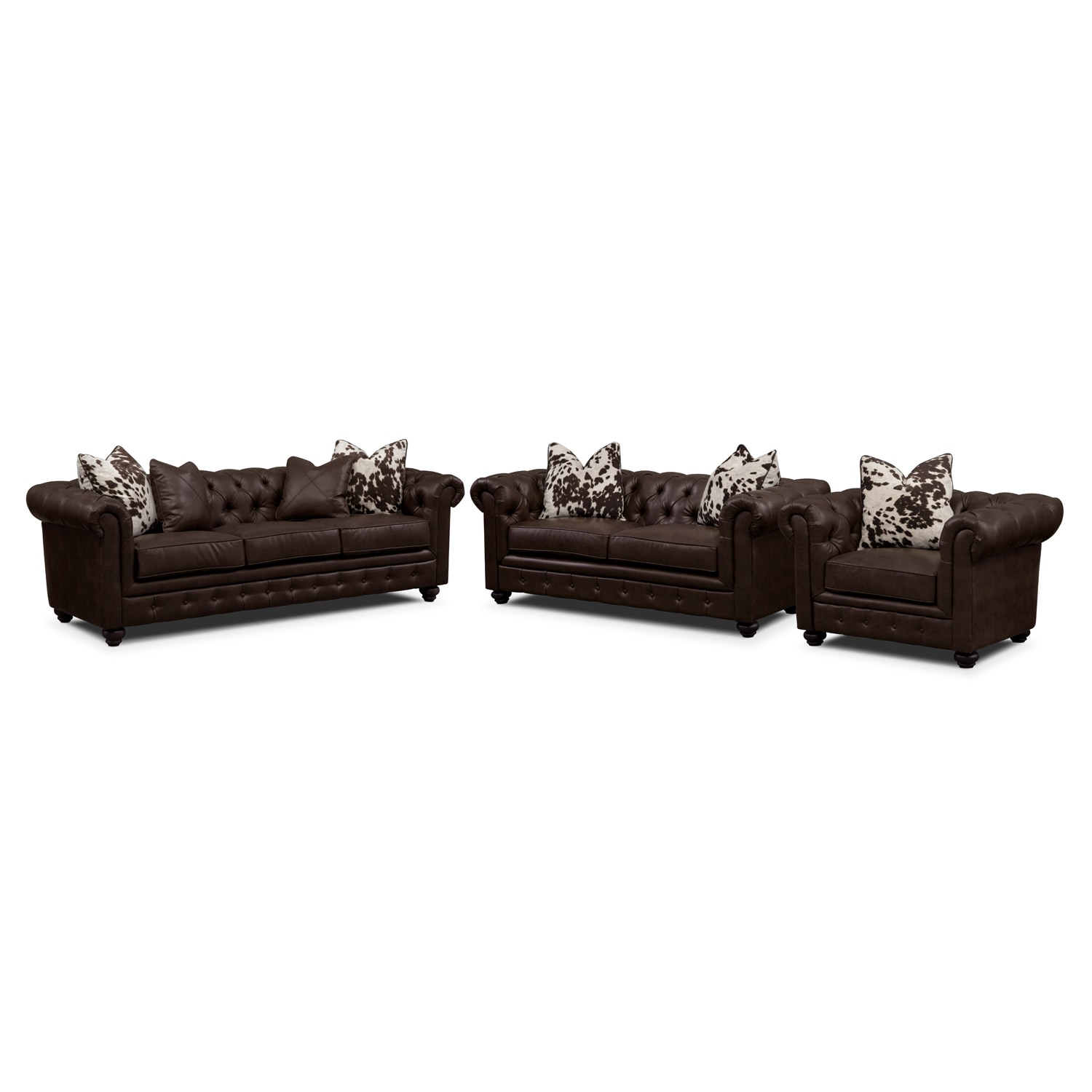 Living Room Furniture - Madeline Chocolate 3 Pc. Living Room Set