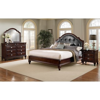 Manhattan 6-Piece King Upholstered Bedroom Set with Nightstand, Dresser and Mirror - Cherry