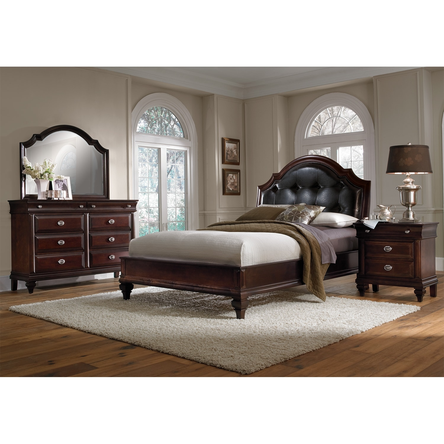 Bedroom Furniture - Manhattan 6-Piece Upholstered Bedroom Set with Nightstand, Dresser and Mirror