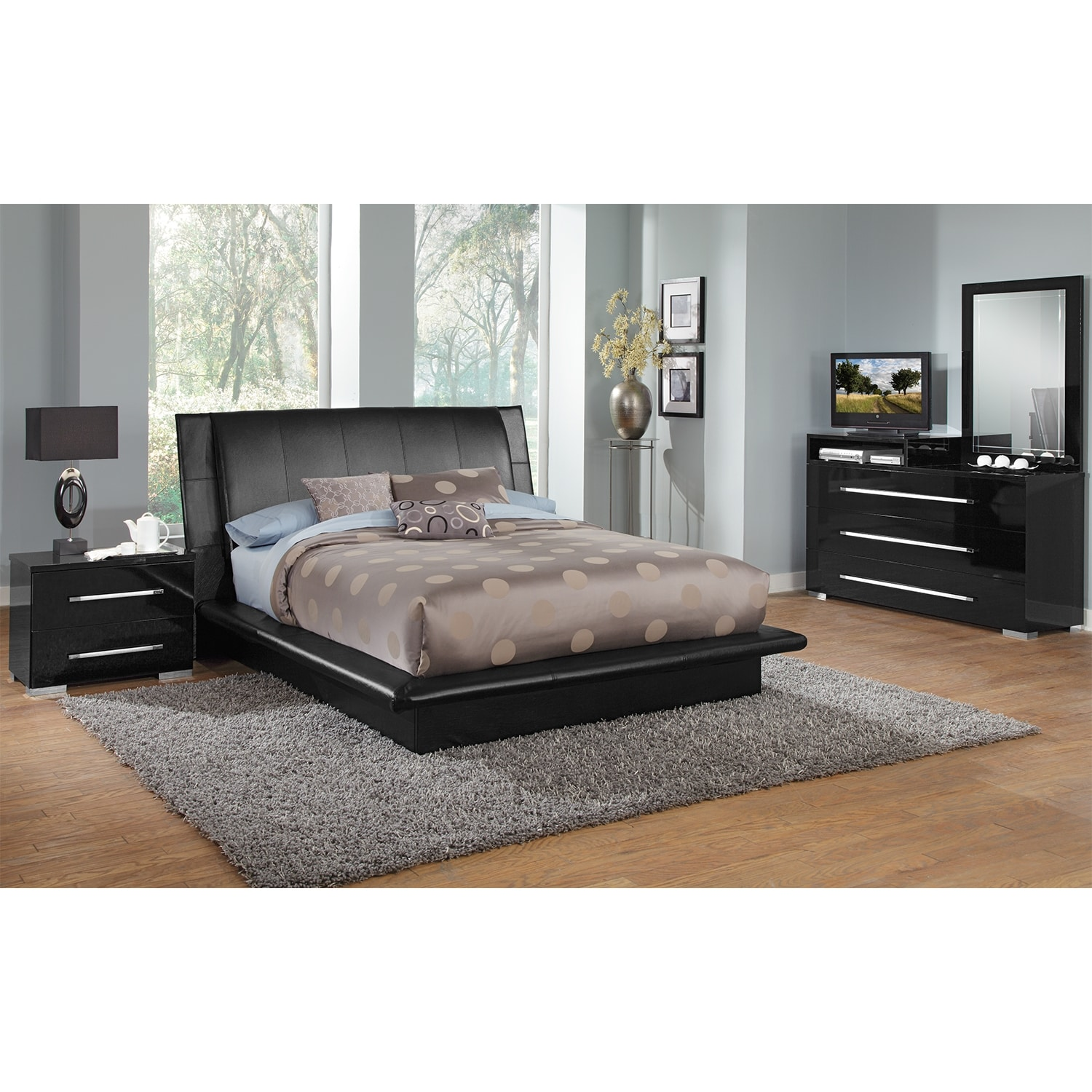 Dimora 6 Piece Queen Upholstered Bedroom Set With Media Dresser Black Ame