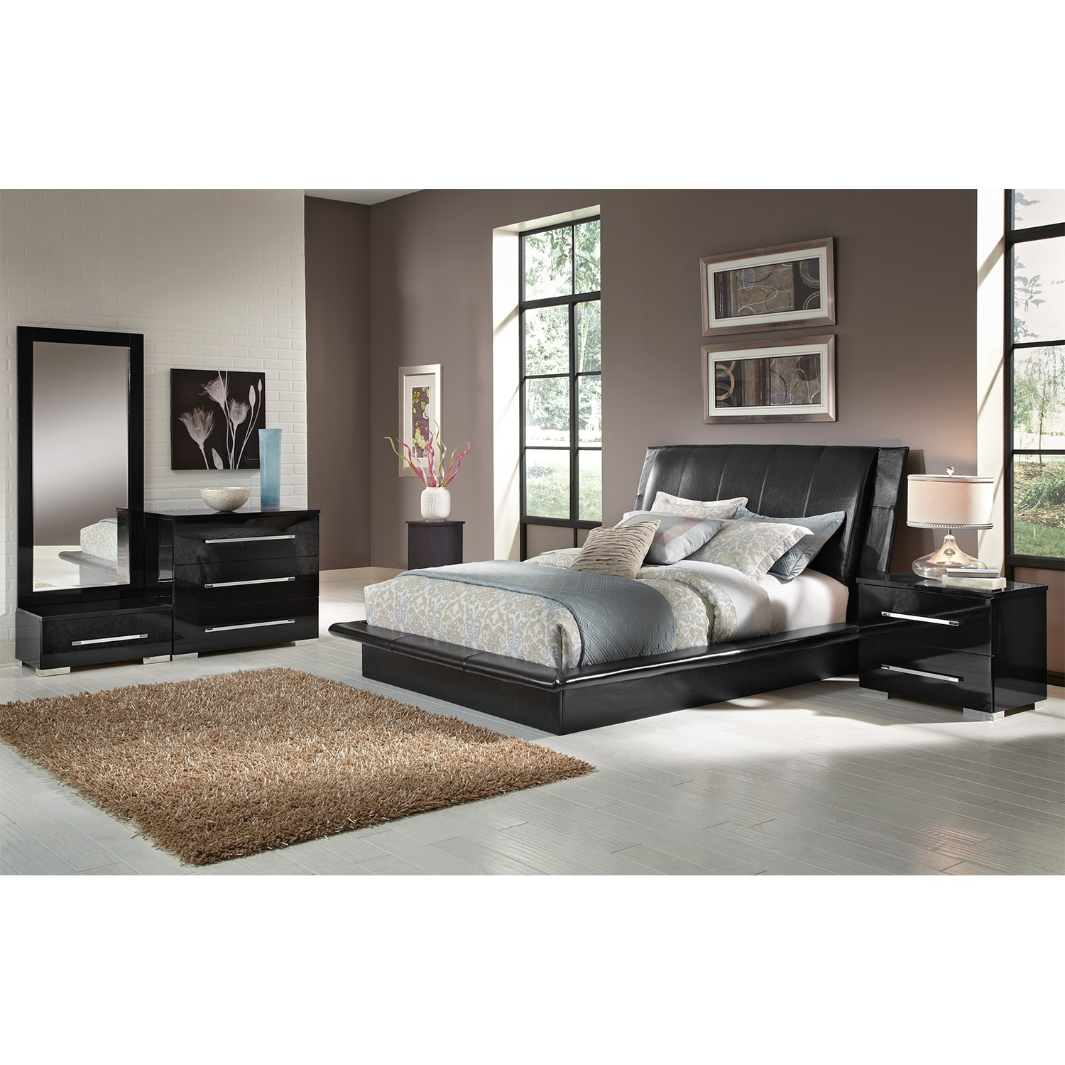 Dimora queen upholstered bed black american signature for Beautiful bedroom furniture