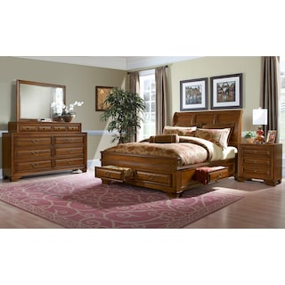 Sanibelle 6-Piece Queen Storage Bedroom - Pine