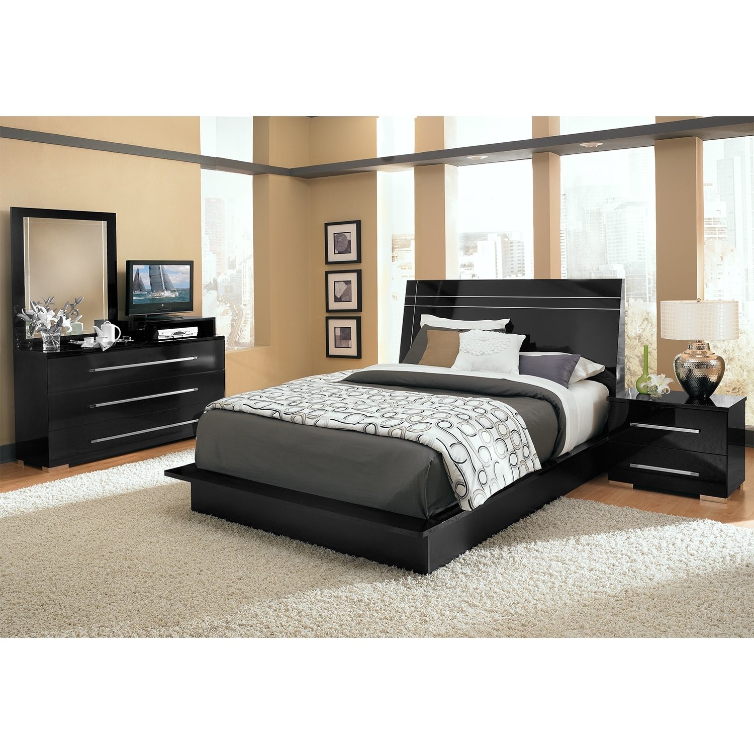 Bedroom Furniture - Dimora 6-Piece King Panel Bedroom Set with Media Dresser - Black