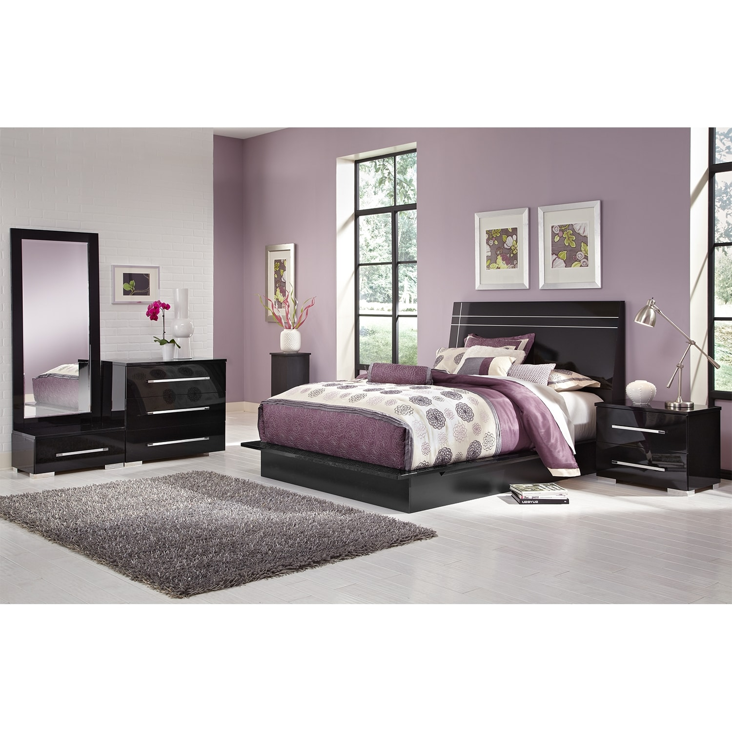 Bedroom Furniture - Dimora 6-Piece King Panel Bedroom Set - Black