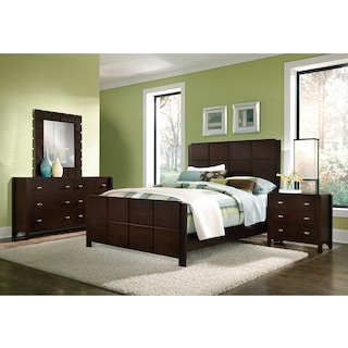 Mosaic 6-Piece Bedroom Set with Nightstand, Dresser and Mirror