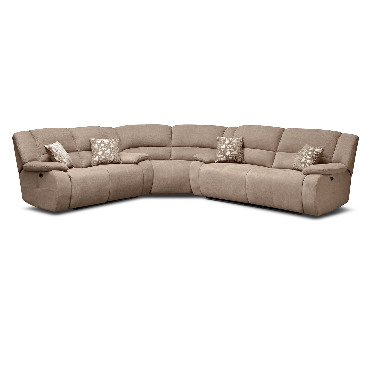 Living Room Furniture - Destin Beige II 3 Pc. Power Reclining Sectional
