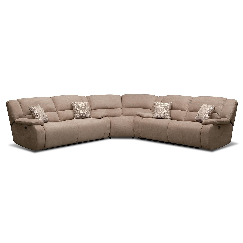 Living Room Furniture - Destin Beige II 3 Pc. Power Reclining Sectional (Alternate)