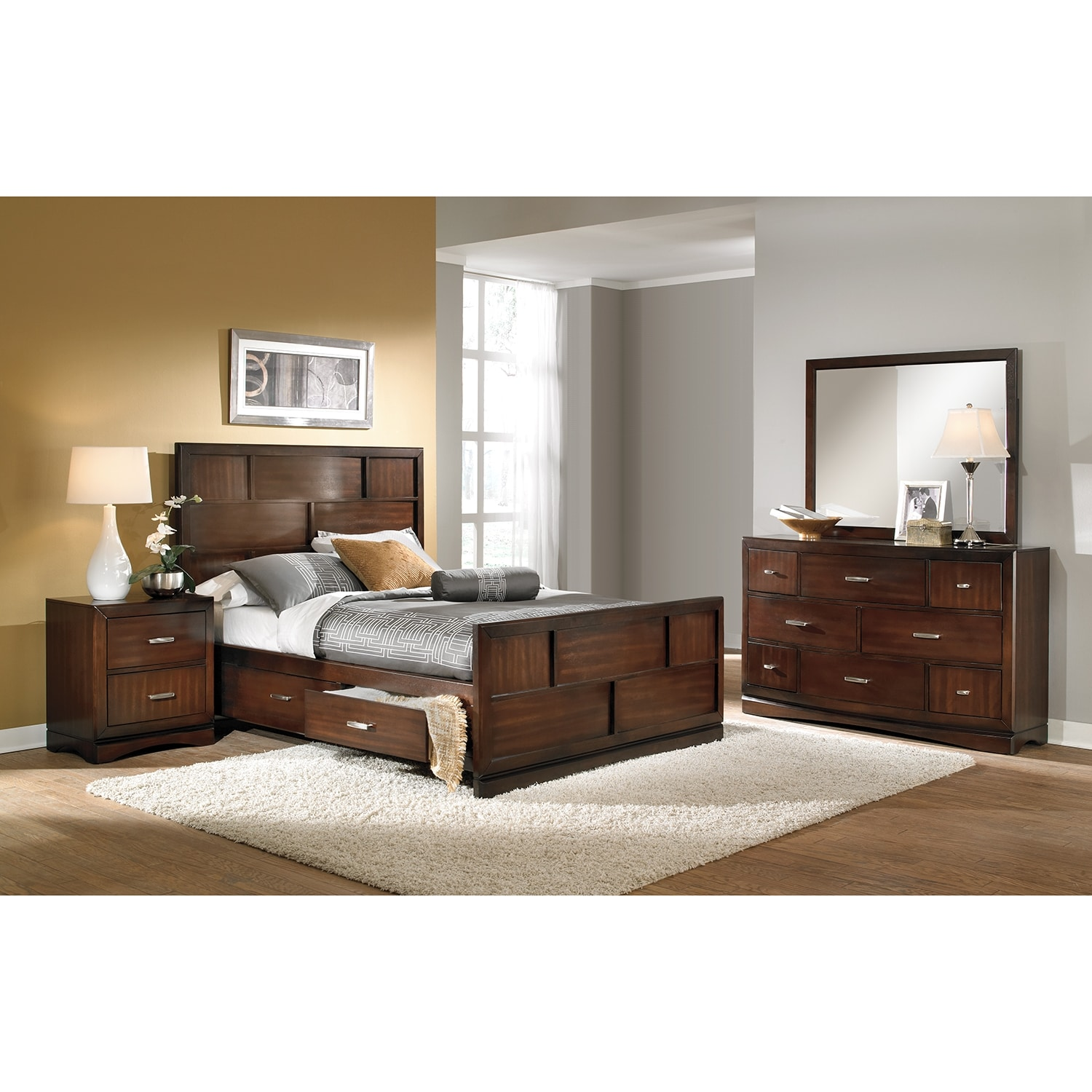 Toronto 6-Piece Queen Storage Bedroom Set - Pecan