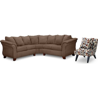 Adrian 2-Piece Sectional and Accent Chair Set - Taupe