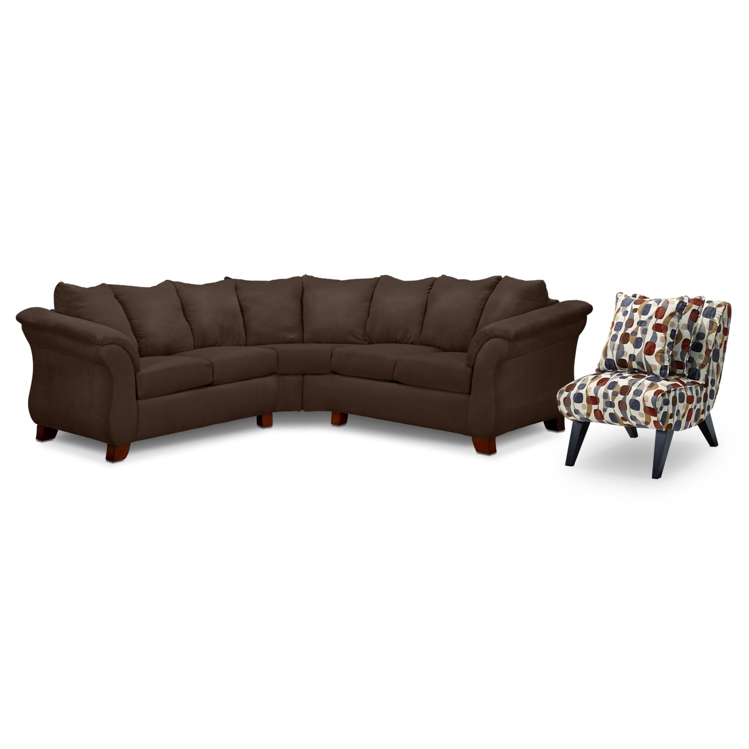 Adrian 2 Piece Sectional and Accent Chair Set Chocolate
