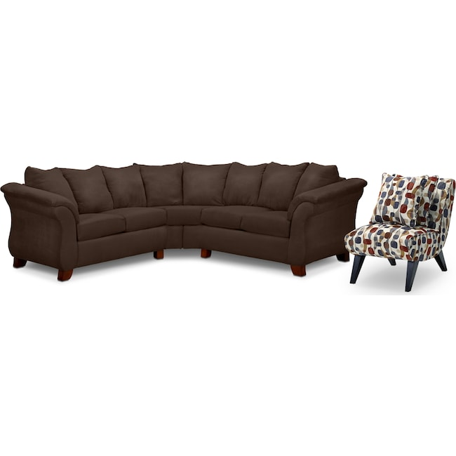 Living Room Furniture - Adrian 2-Piece Sectional and Accent Chair Set - Chocolate