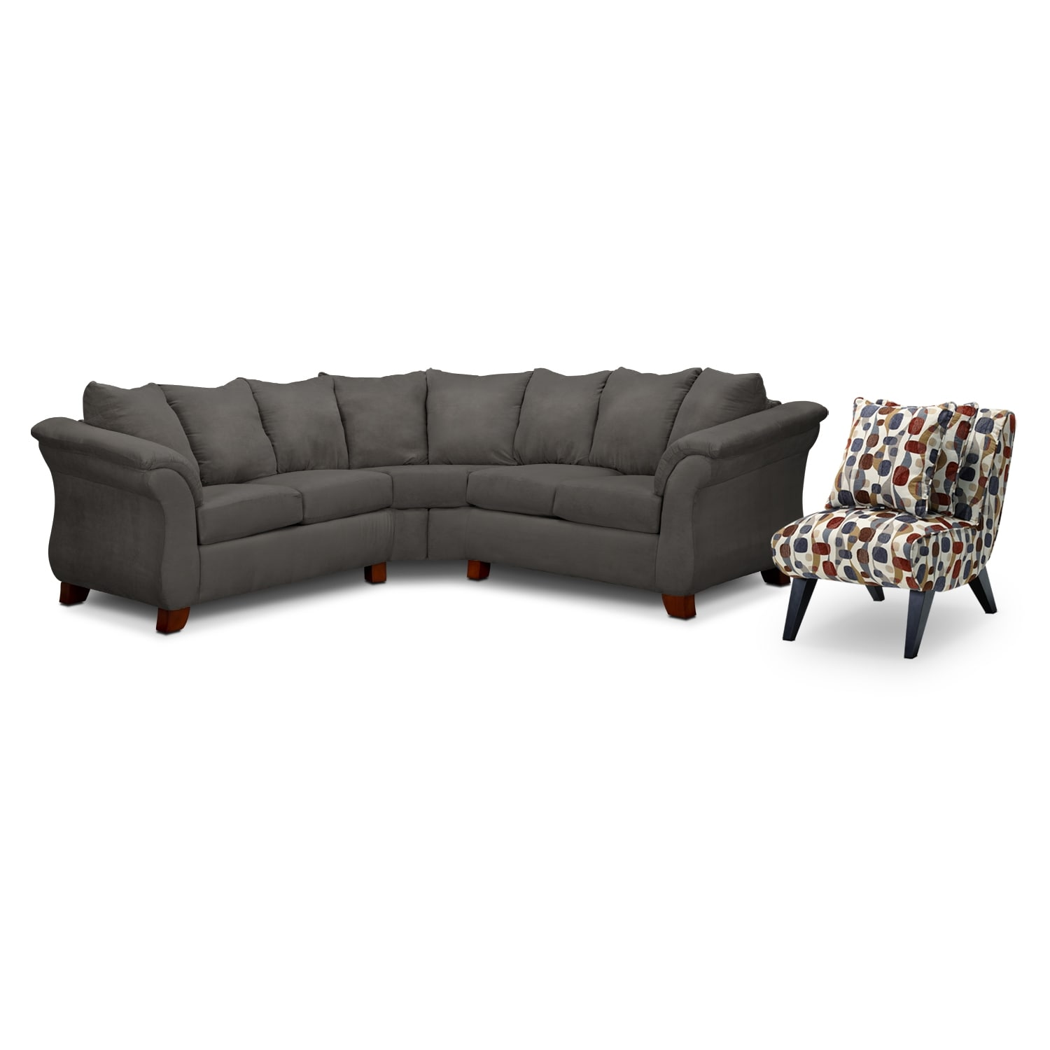 Adrian 2-Piece Sectional and Accent Chair Set - Graphite