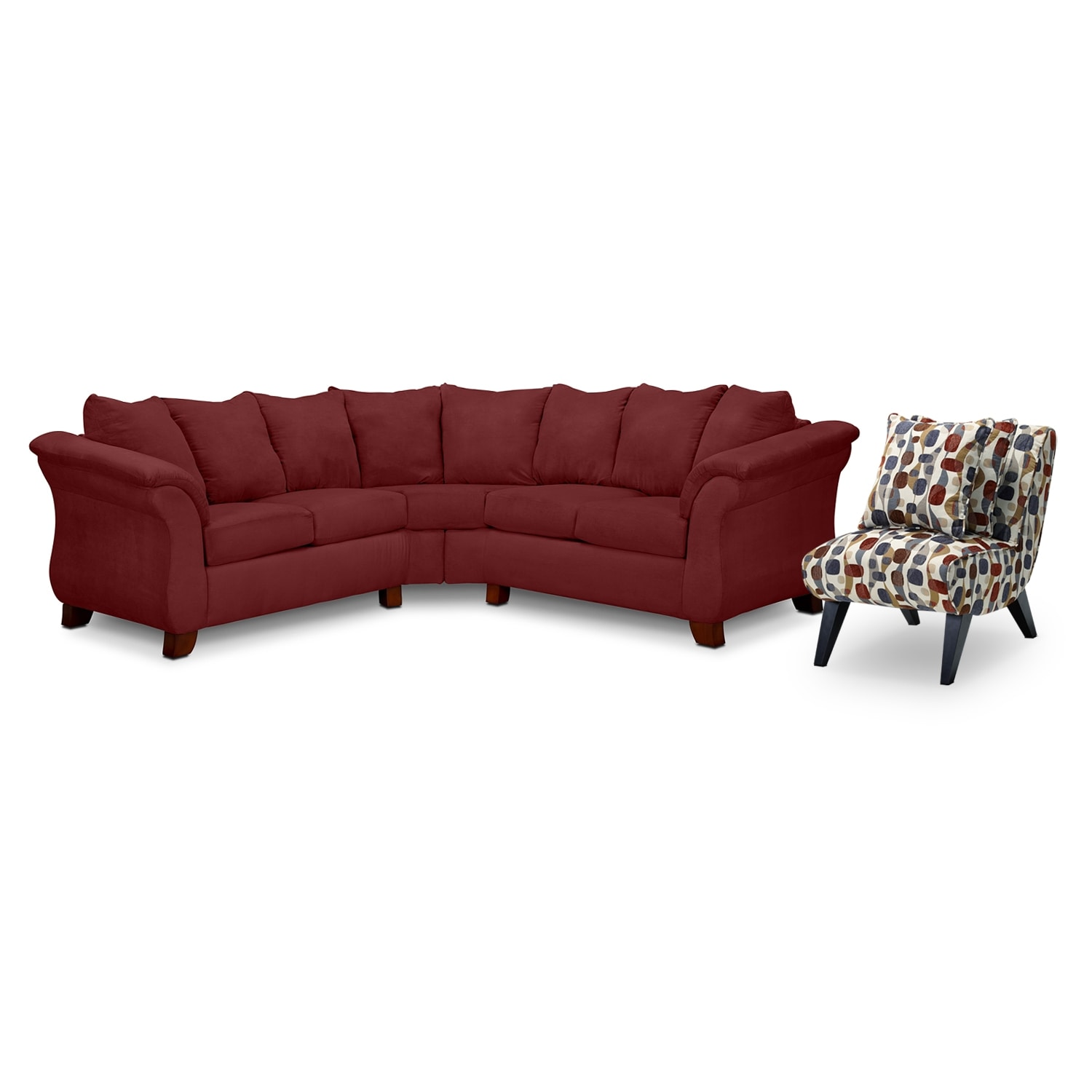 Living Room Furniture - Adrian 2-Piece Sectional and Accent Chair Set - Red