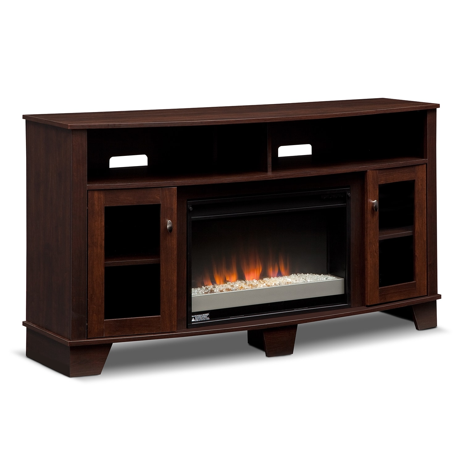 Entertainment Furniture - Bentwood Fireplace TV Stand with Contemporary Insert - Dark Cherry
