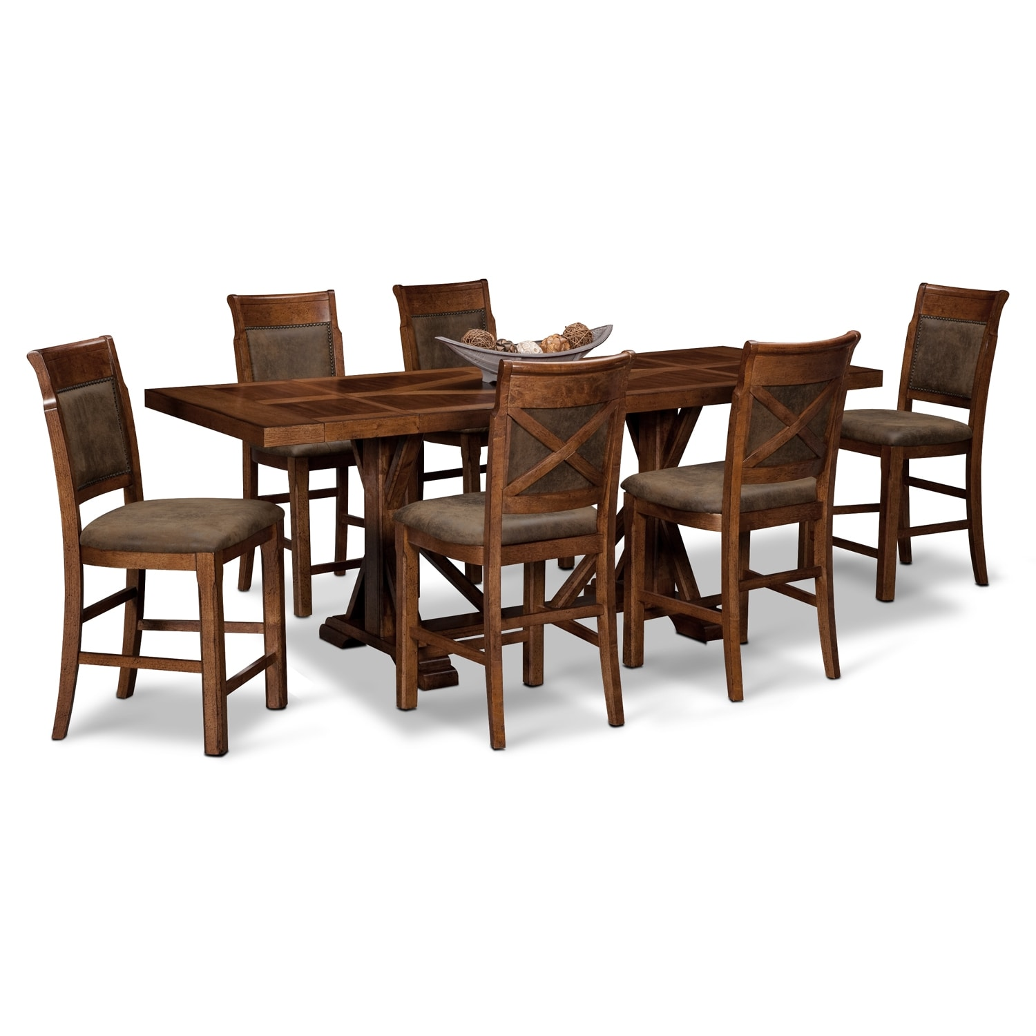 Dining Room Furniture - Austin Walnut 7 Pc. Counter-Height Dining Room