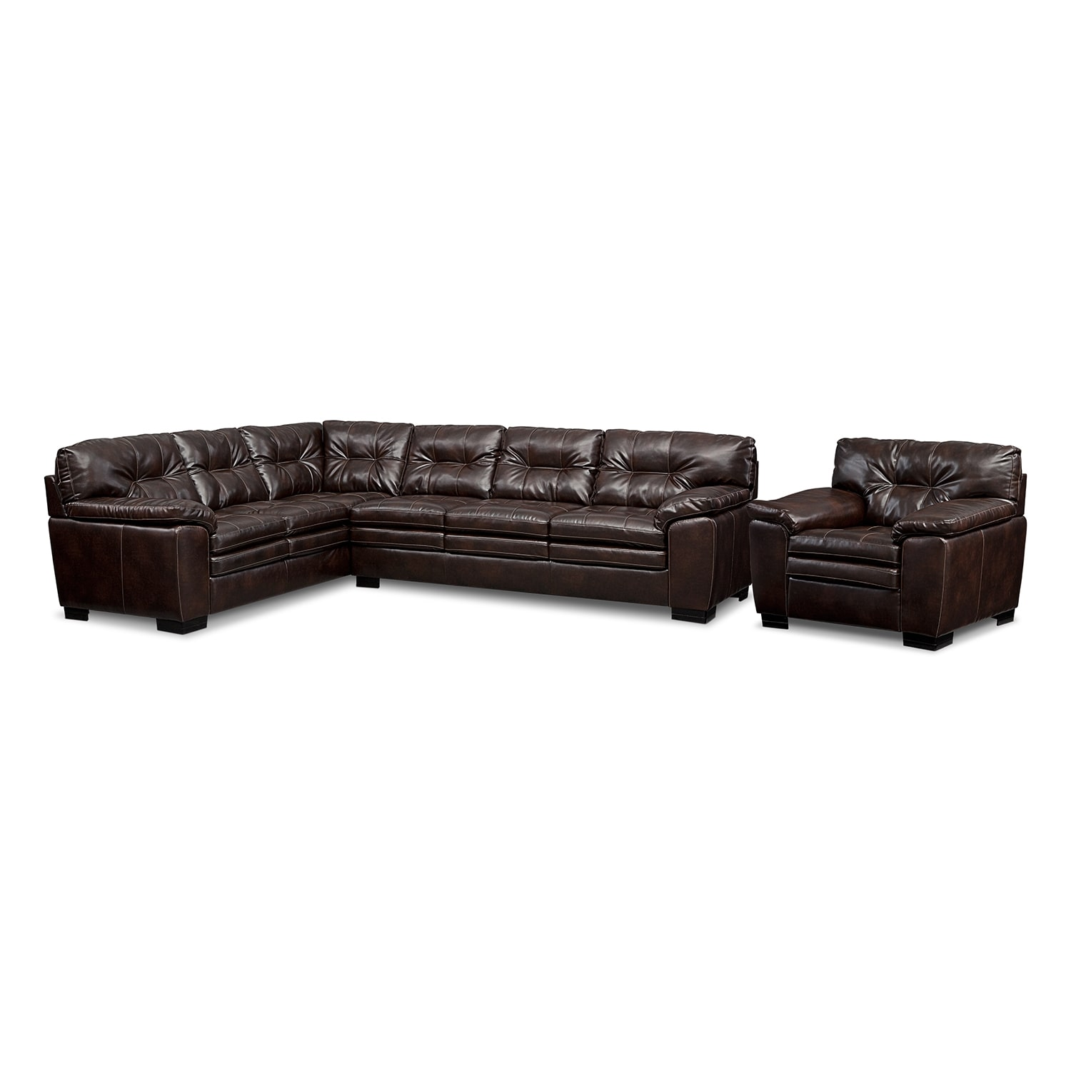 [Legend Brown II 2 Pc. Sectional and Chair]