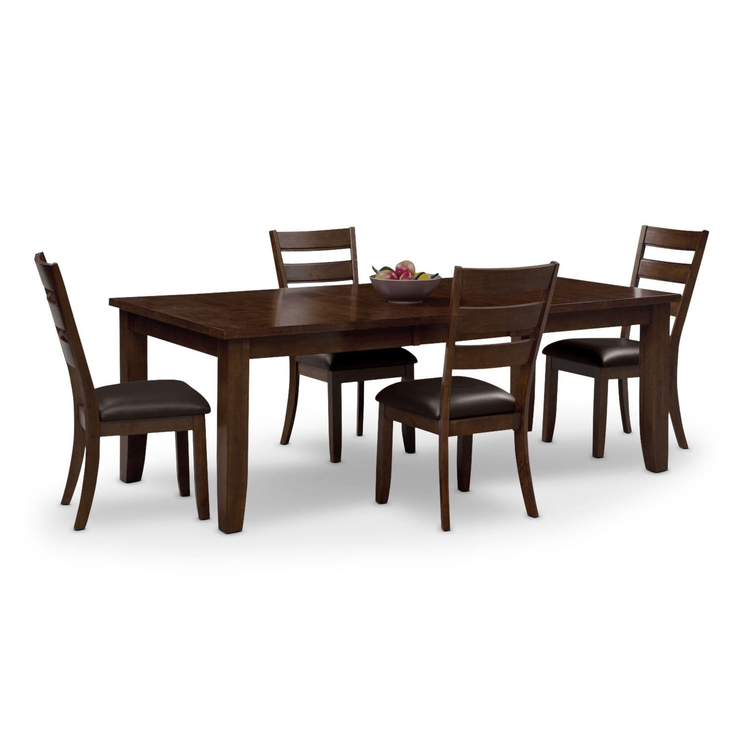 Abaco table and 4 chairs brown american signature for Signature furniture