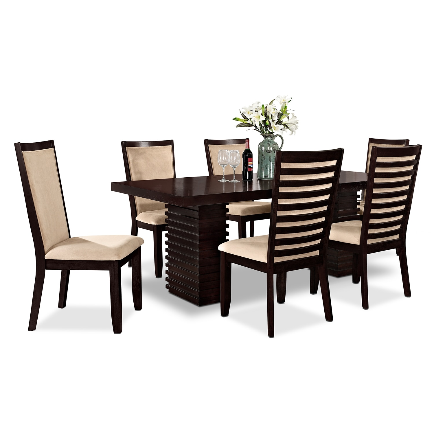 Paragon Table And 6 Chairs Merlot And Camel American Signature Furniture
