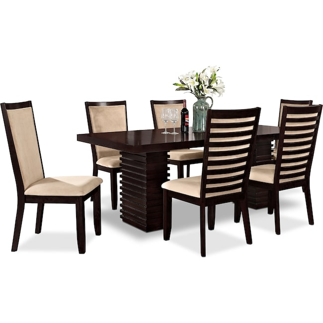 Dining Room Furniture - Paragon Table and 6 Chairs - Merlot and Camel