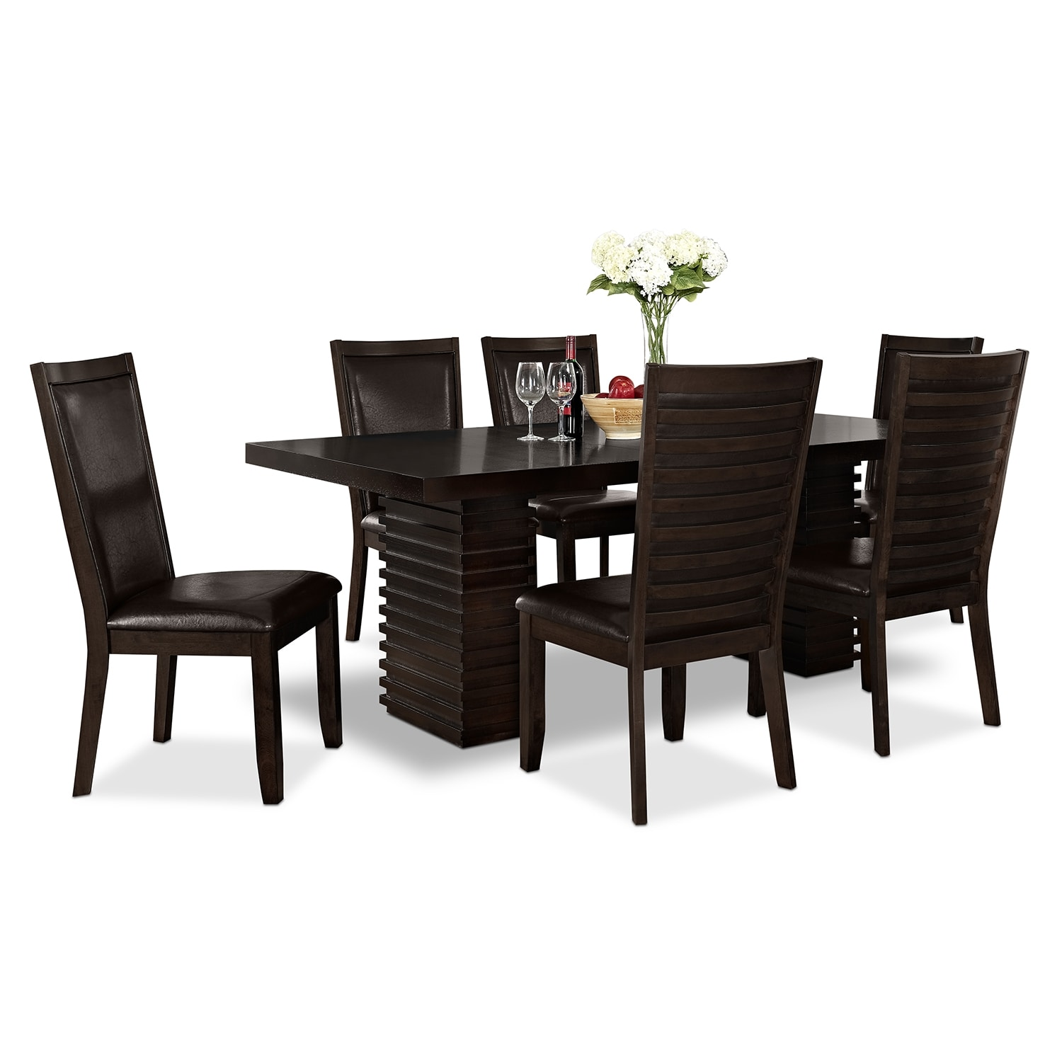 Paragon Table and 6 Chairs - Merlot and Brown