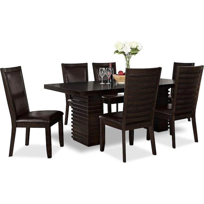 Dining Room Furniture - Paragon Table and 6 Chairs - Merlot and Brown