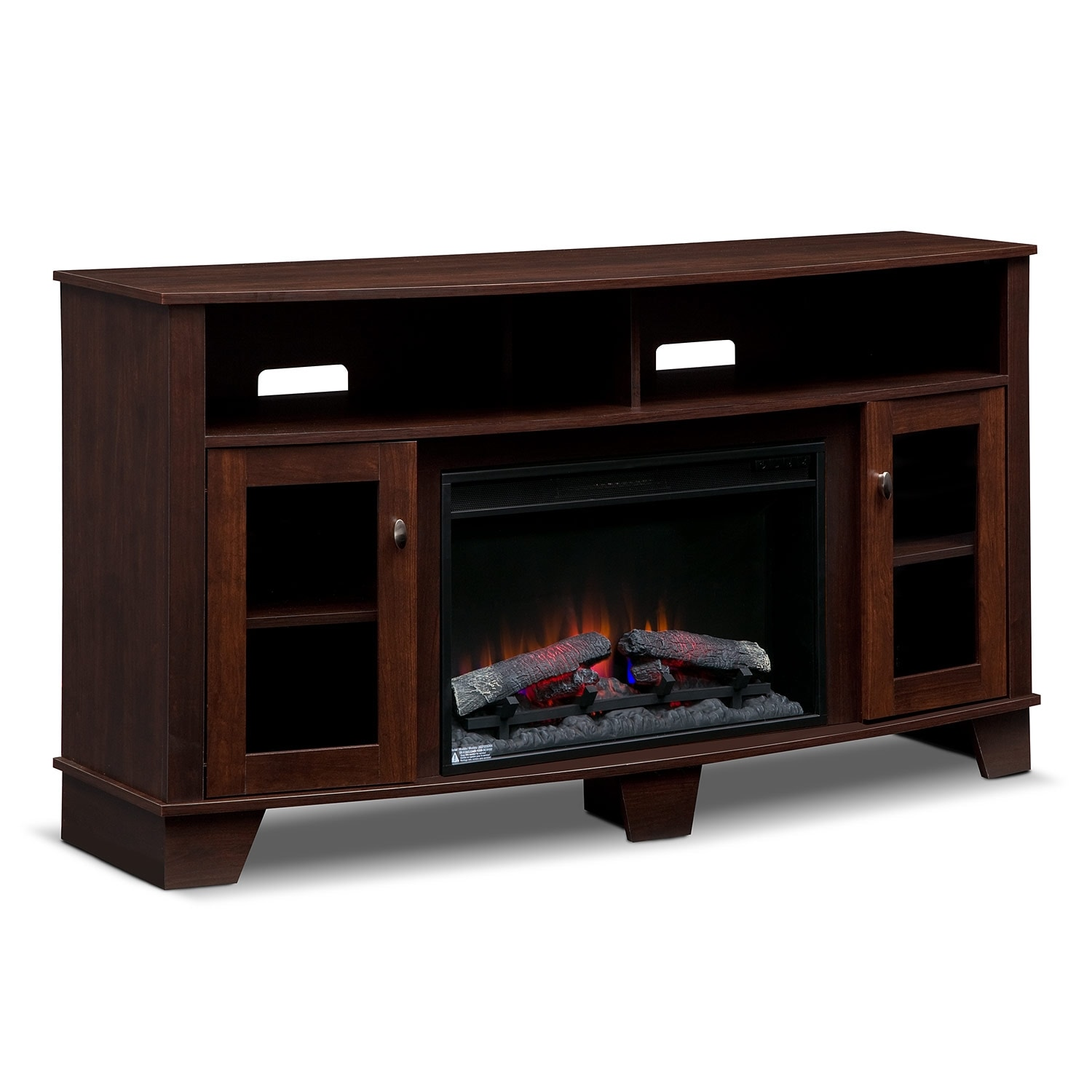 Bentwood Fireplace TV Stand with Traditional Insert - Dark Cherry