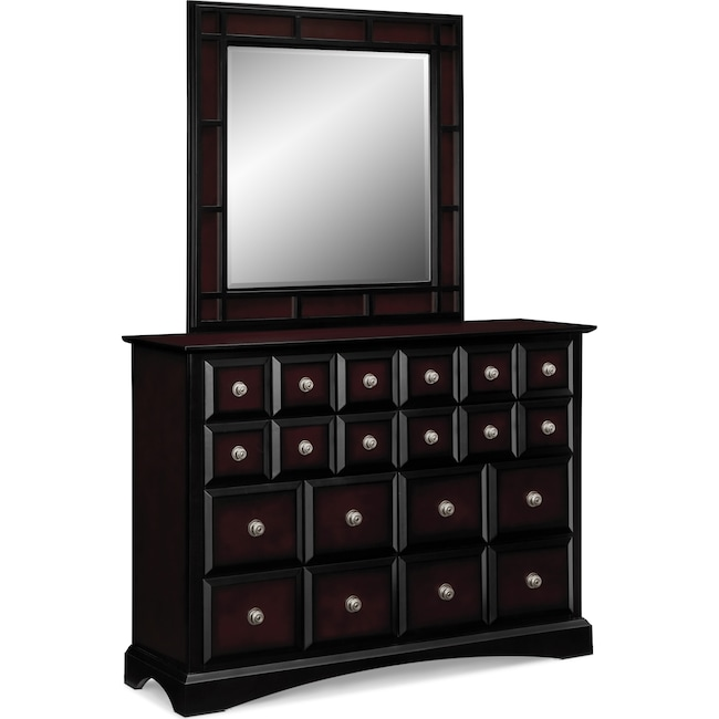 Bedroom Furniture - Winchester Dresser and Mirror - Black and Burnished Merlot