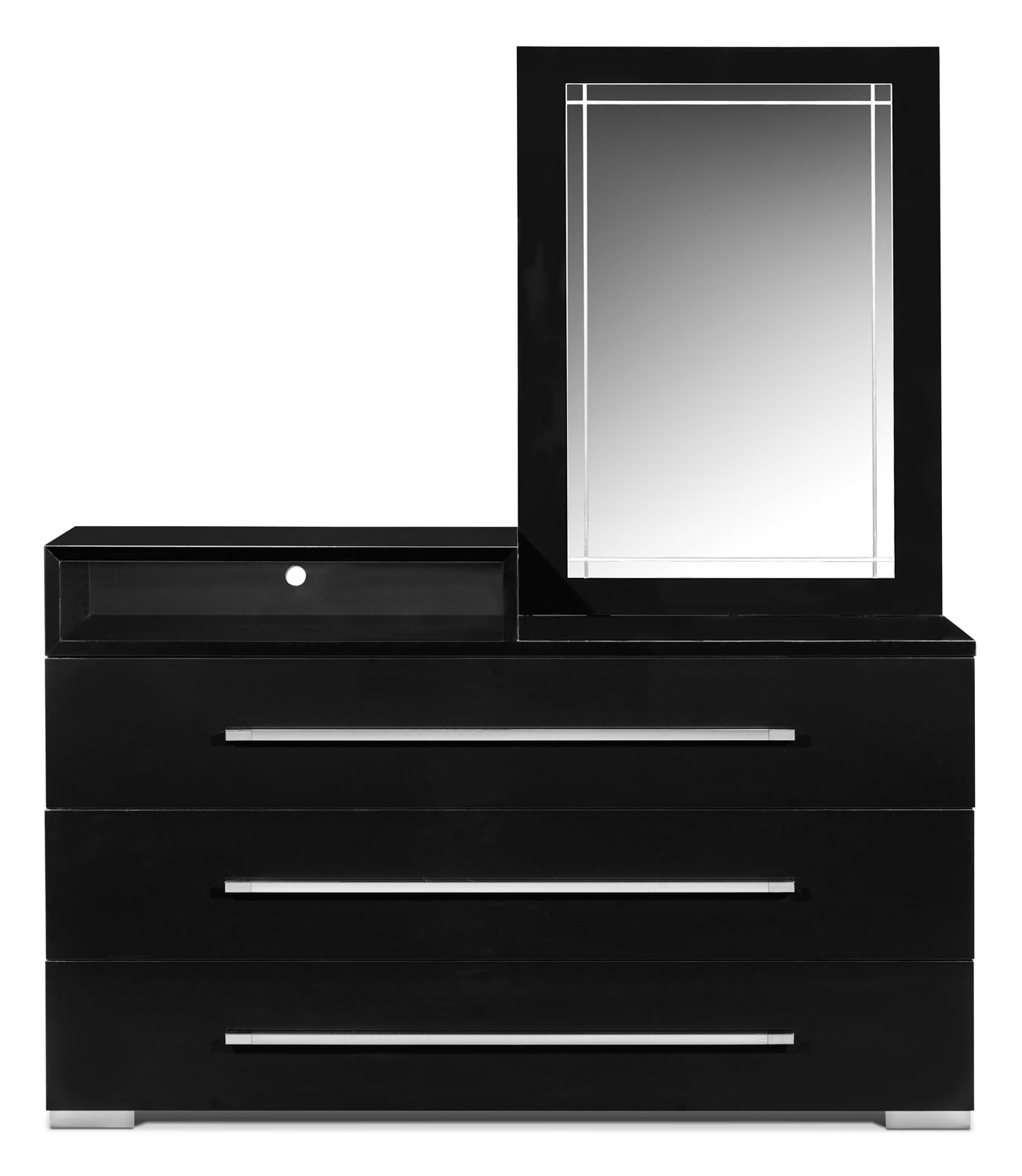 Dimora Dresser with Deck and Mirror - Black by Factory Outlet