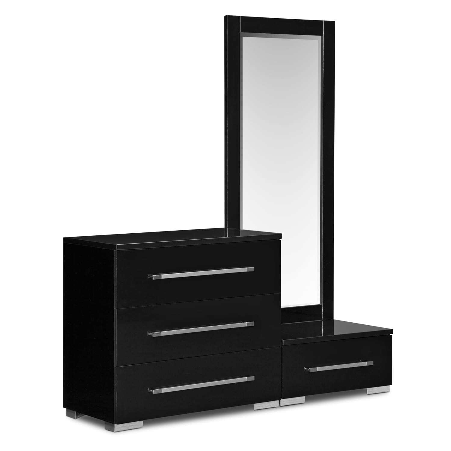 Dimora Dressing Dresser and Mirror with Step - Black
