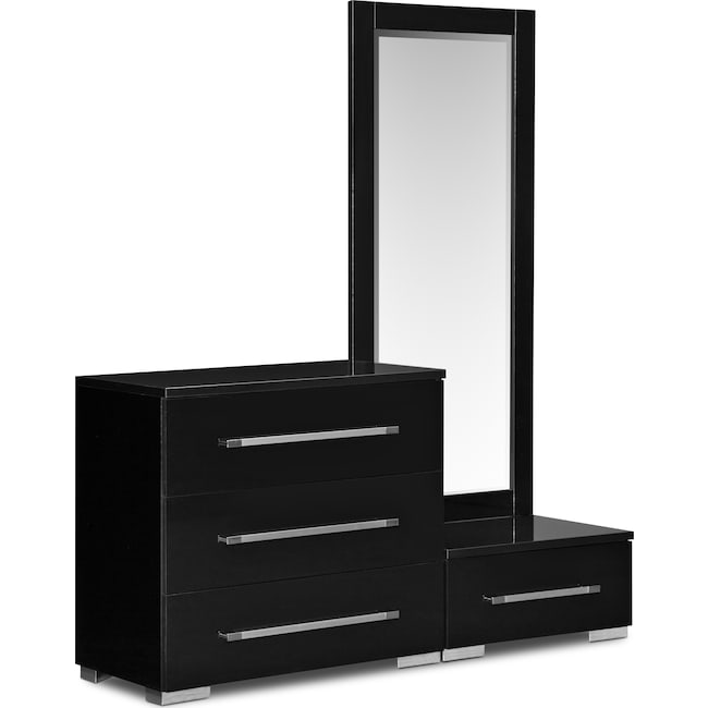 Bedroom Furniture - Dimora Dressing Dresser and Mirror with Step - Black