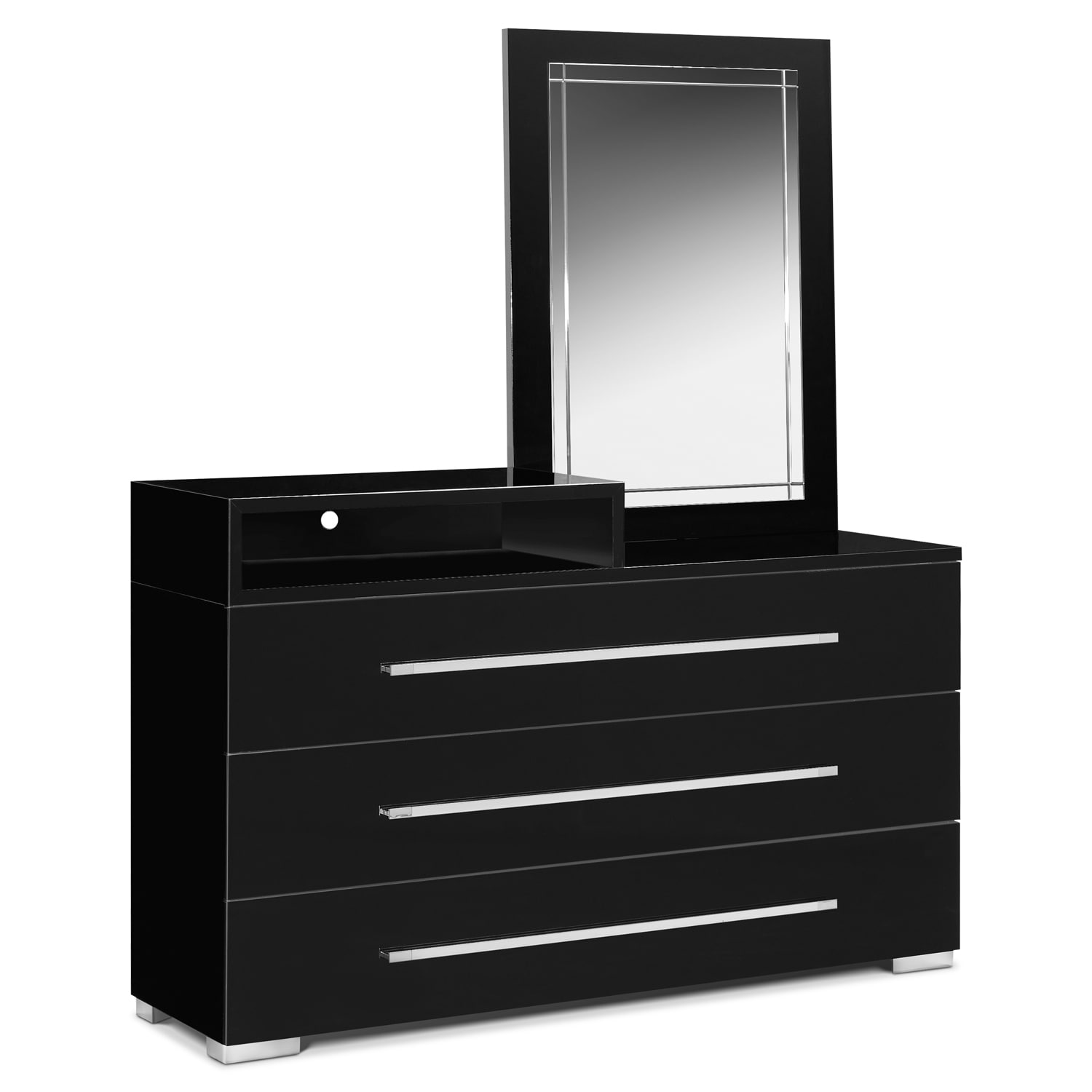 Modern bedroom dresser with mirror - Dimora 5 Piece Queen Upholstered Bedroom Set With Media Dresser Black By Factory Outlet