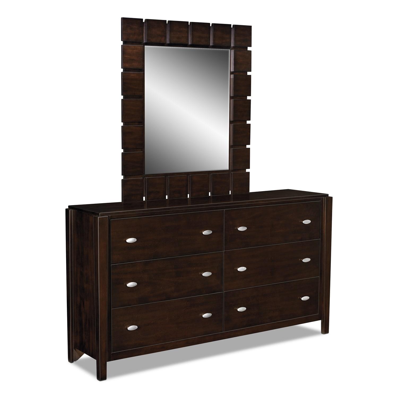 Bedroom Furniture - Mosaic Dresser and Mirror - Dark Brown