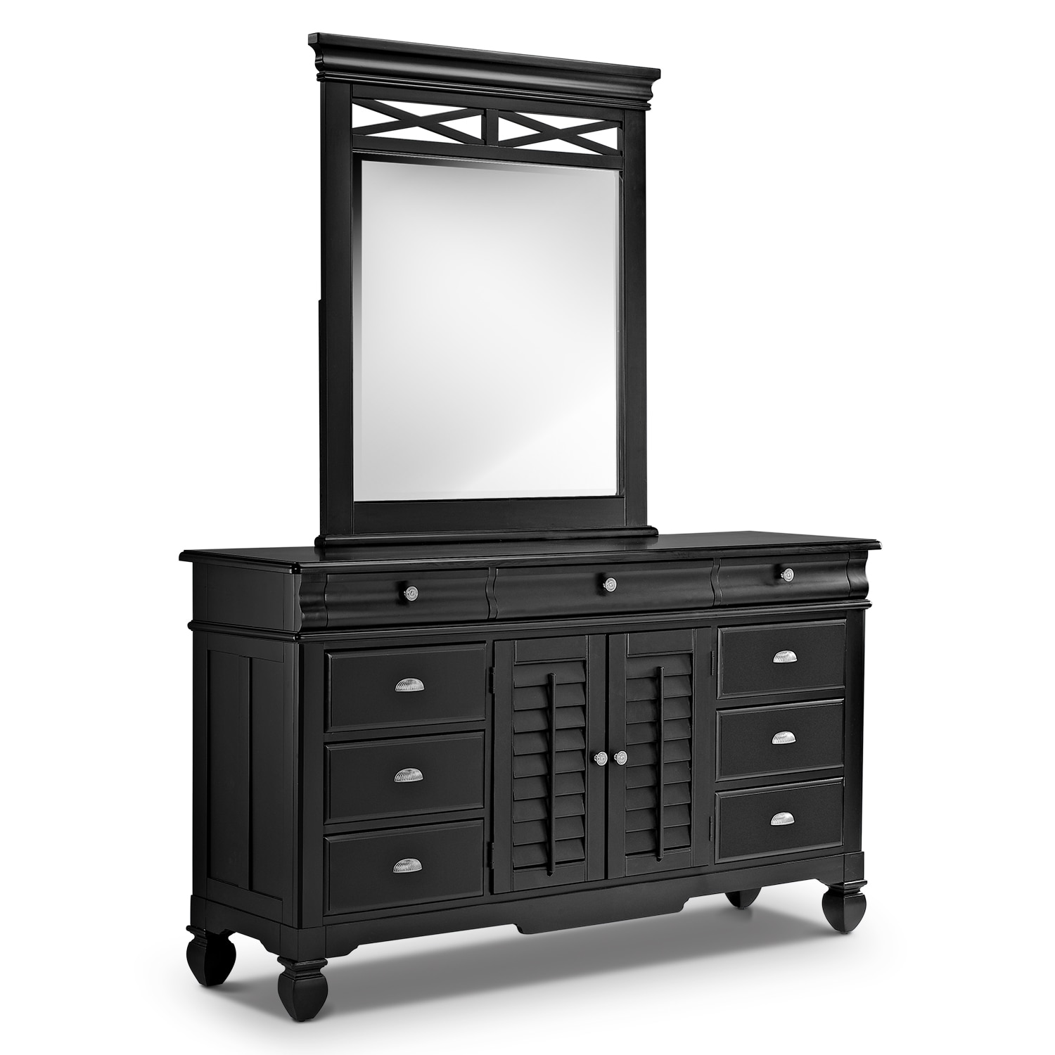 Bedroom Furniture - Plantation Cove Black Dresser & Mirror