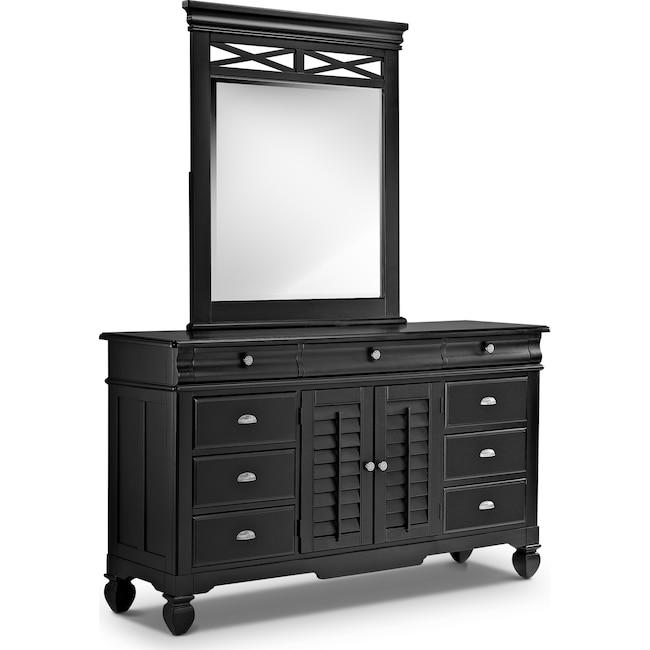 Bedroom Furniture - Plantation Cove Dresser and Mirror - Black