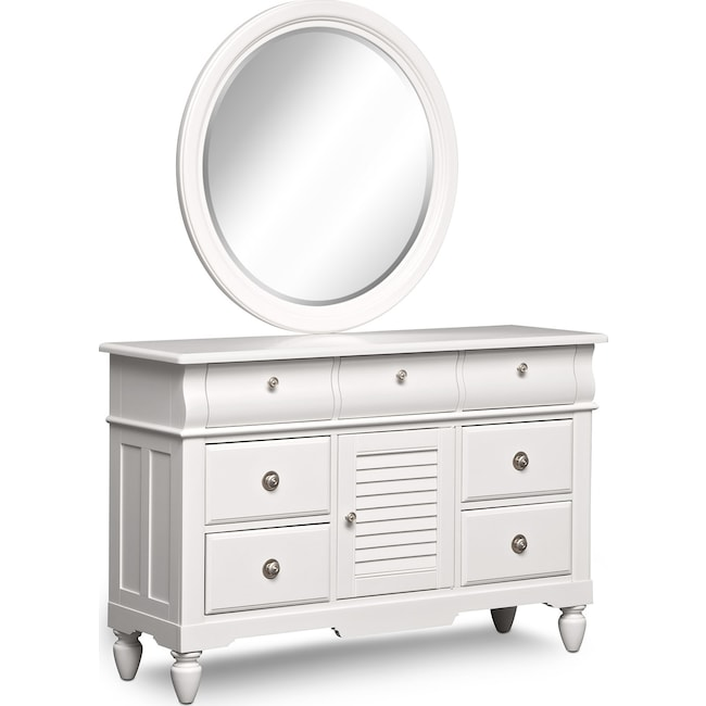 Kids Furniture - Seaside Dresser and Mirror - White