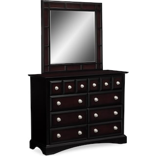 Winchester Media Dresser and Mirror Set - Ebony
